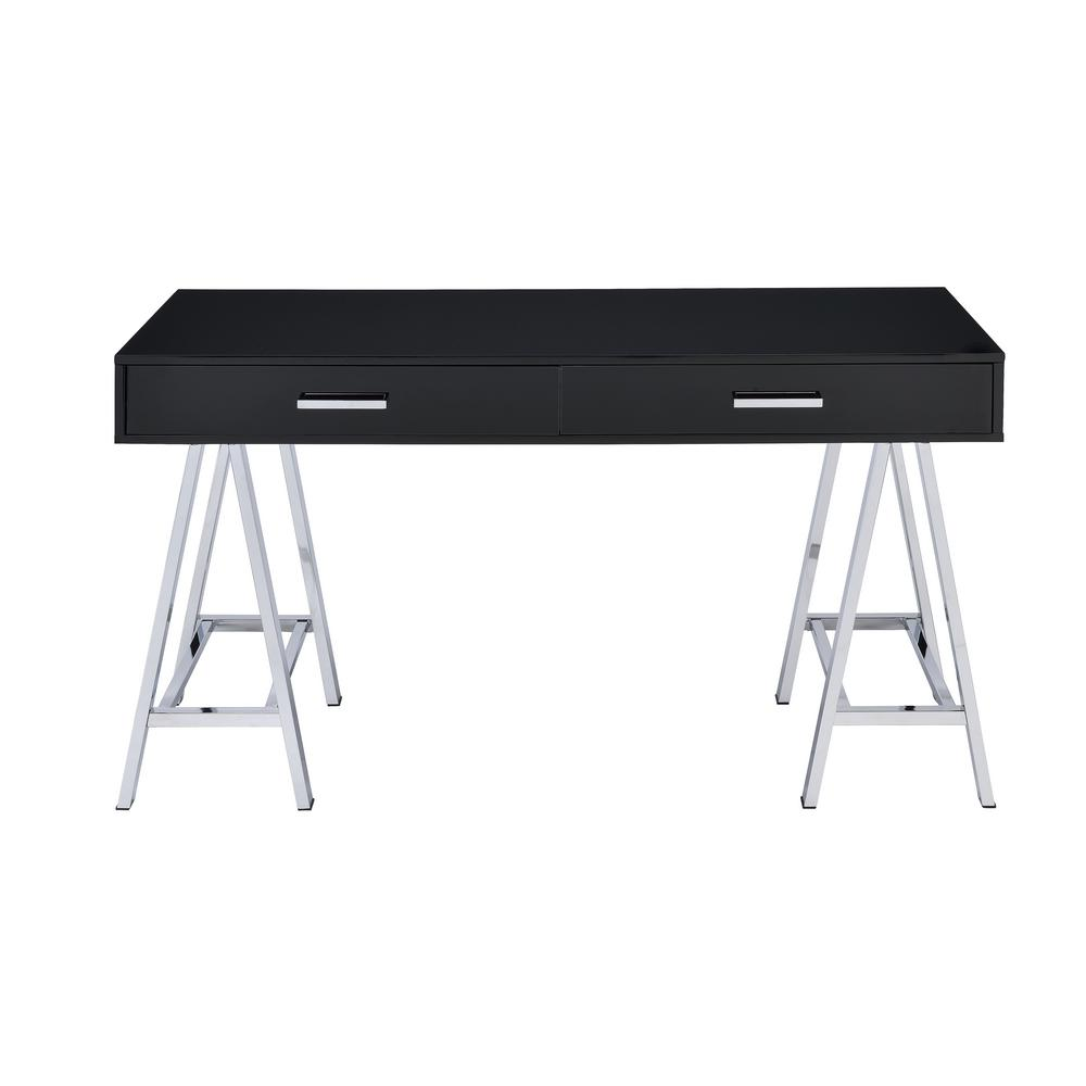 black and chrome furniture. Acme Furniture Coleen Black And Chrome Writing Desk With Storage P