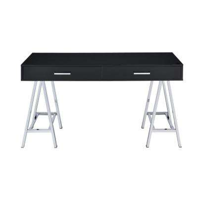 Coleen Black and Chrome Writing Desk with Storage