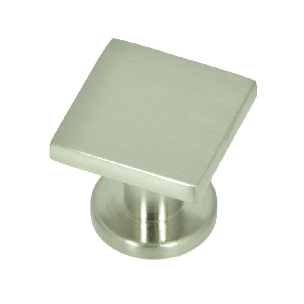 stone mill hardware soho 1 in satin nickel square cabinet knob rh homedepot com