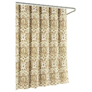 Creative Home Ideas Biltmore Cotton Luxury 72 inch x 72 inch L Shower Curtain in Taupe by Creative Home Ideas