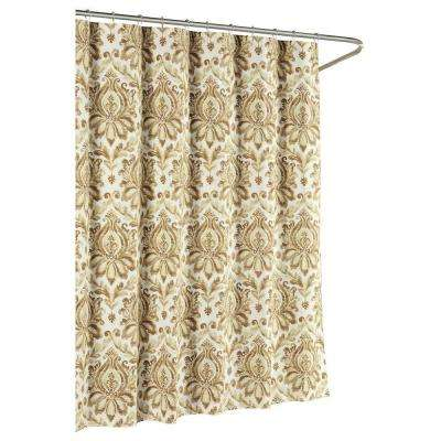 Paige Cotton Luxury 72 in. x 72 in. L Shower Curtain in Taupe