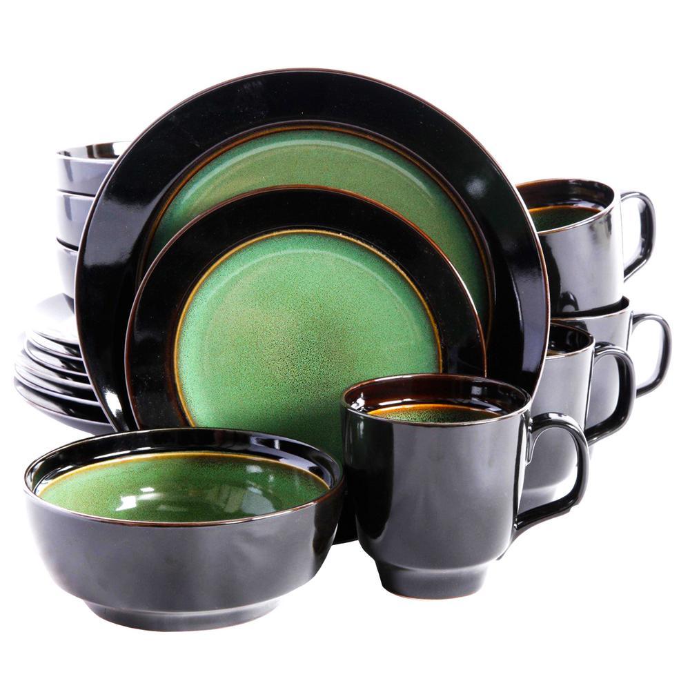 Bella Galleria 16-Piece Green and Black Dinnerware Set