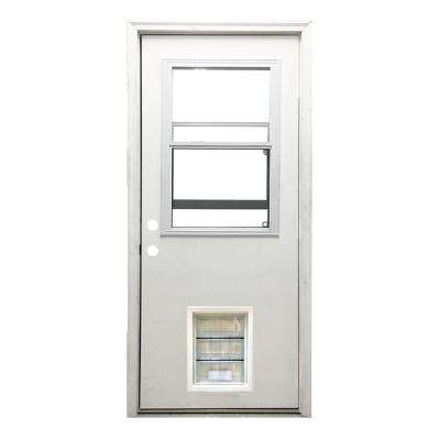 32 in. x 80 in. Classic Vented Half Lite RHIS White Primed Textured Fiberglass Prehung Front Door with XL Pet Door