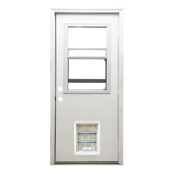 36 in. x 80 in. Classic Clear Vented Half Lite RHIS White Primed Fiberglass Prehung Back Door with XL Pet Door