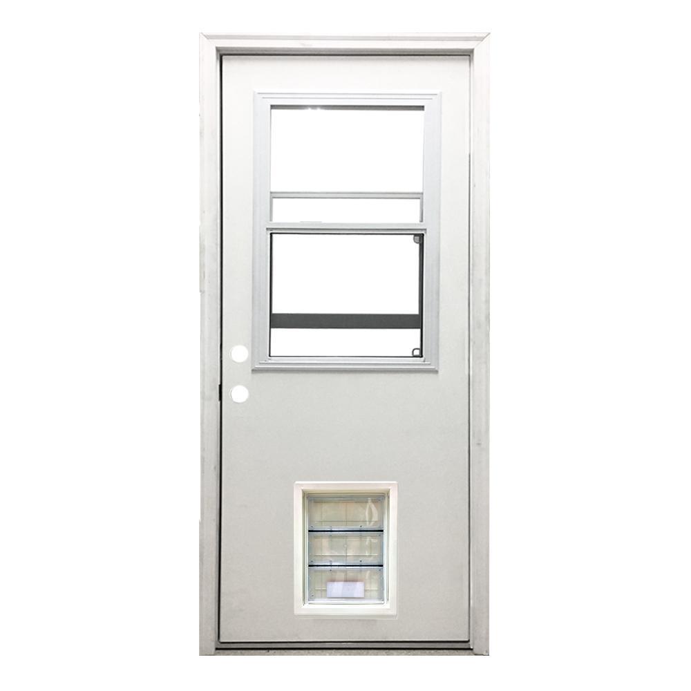 32 in. x 80 in. Classic Vented Half Lite RHIS White Primed Textured Fiberglass Prehung Front Door with XL Pet Door
