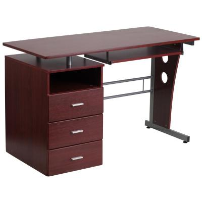 47.25 in. Mahogany Rectangular 3 -Drawer Computer Desk with Keyboard Tray