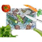 Caroline's Treasures Shrimp, Crabs and Oysters in water Tempered Glass Large Heat Resistant Cutting Board