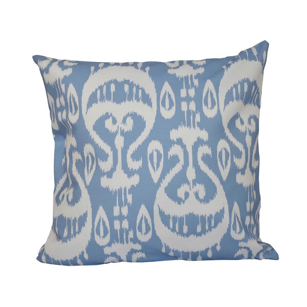 Ikat Blue Geometric 16 in. x 16 in. Throw Pillow