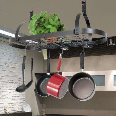 Rack It Up Oval Ceiling Pot Rack Steel Gray