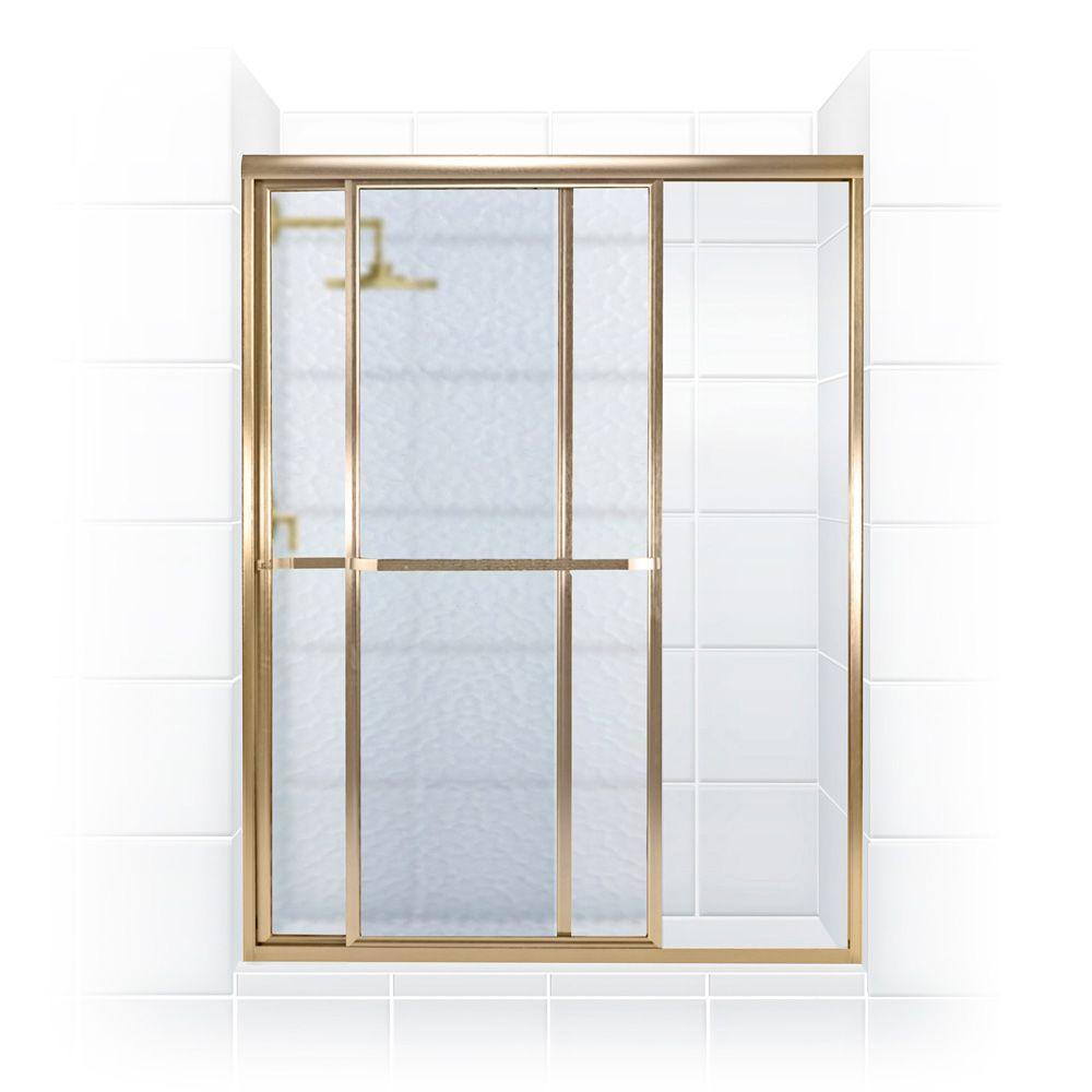 Coastal Shower Doors Paragon Series 44 in. x 68 in. Framed Sliding Shower Door with Towel Bar in Gold and Obscure Glass