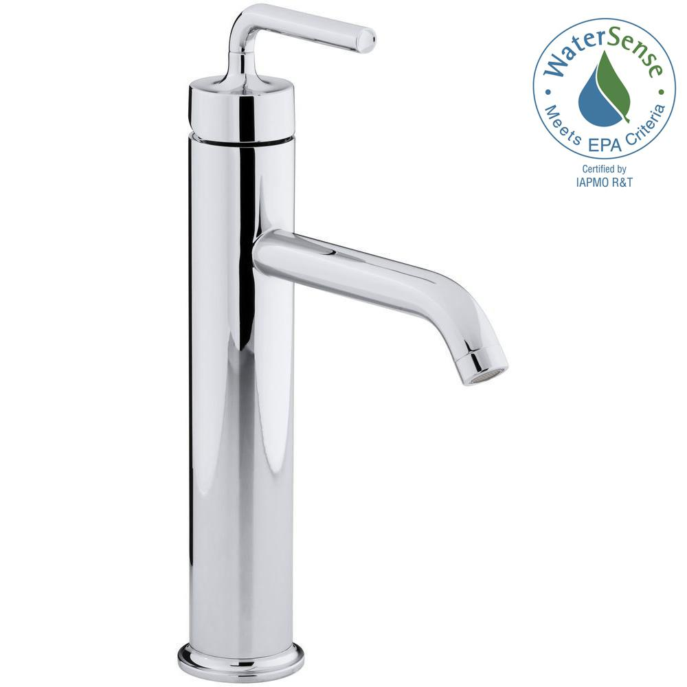KOHLER Purist Tall Single Hole Single Handle Low-Arc Bathroom Vessel ...