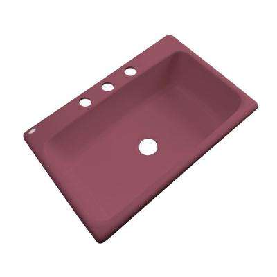 Manhattan Drop-In Acrylic 33 in. 3-Hole Single Bowl Kitchen Sink in Raspberry Puree
