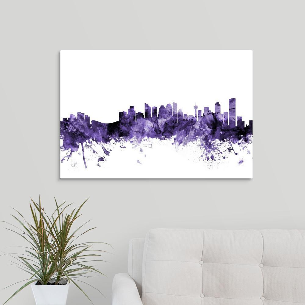 GreatBigCanvas ''Calgary Canada Skyline'' by Michael Tompsett Canvas Wall Art