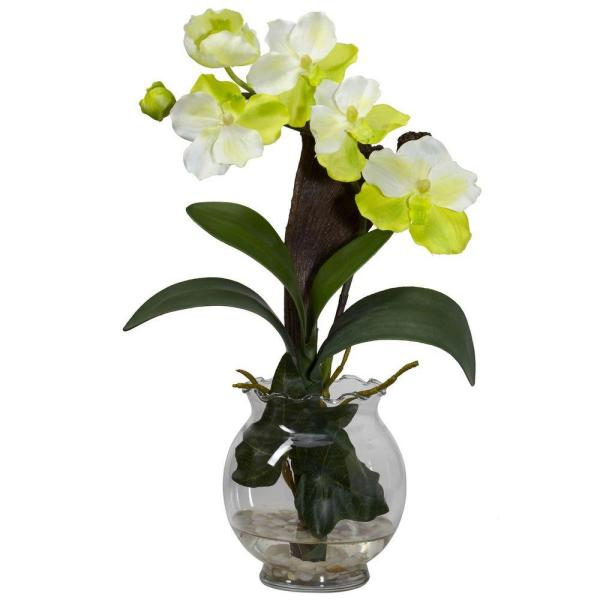 15 in. H White Mini Vanda with Fluted Vase Silk Flower