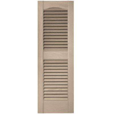12 in. x 36 in. Louvered Vinyl Exterior Shutters Pair #023 Wicker