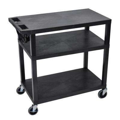 EA 32 in. W x 18 in. D x 34.5 in. H 3-Flat Shelf Presentation Utility Cart in Black