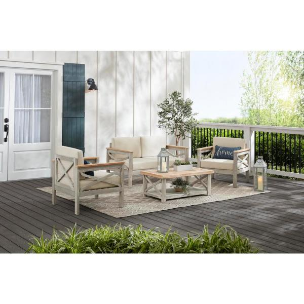 Hampton Bay Coral Crest Weathered Light Teak 4-Piece Wood Patio Conversation Set with Beige Cushions
