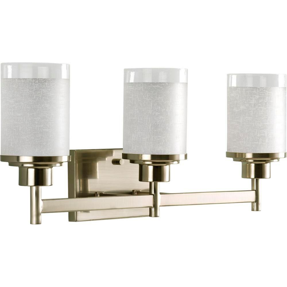 Progress Lighting Alexa Collection 3-Light Brushed Nickel Vanity Light with White Linen Glass Shades