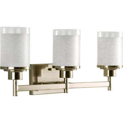 Alexa Collection 3-Light Brushed Nickel Vanity Light with White Linen Glass Shades