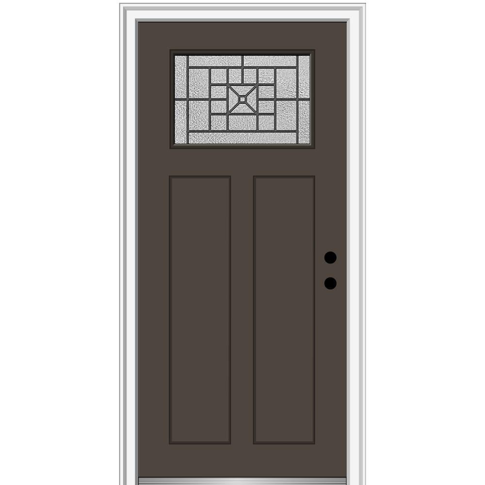 MMI Door 36 in. x 80 in. Courtyard Left-Hand 1-Lite Decorative Craftsman Painted Fiberglass Prehung Front Door, 4-9/16 in. Frame, Brown/Brilliant was $1444.56 now $939.0 (35.0% off)