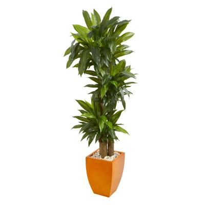 Real Touch 5.5 ft. Indoor Dracaena Plant in Orange Square Planter