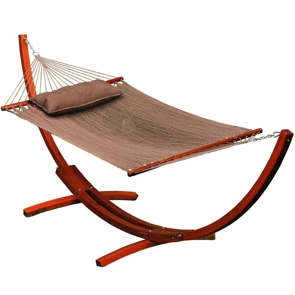Caribbean Polyester Rope Hammock With Wooden Arc Stand