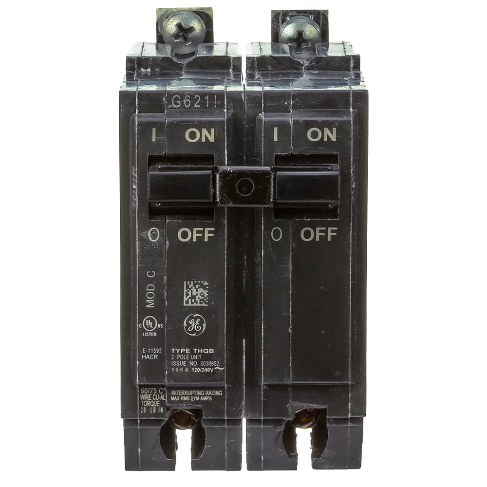 Ge Q Line 30 Amp 2 In Double Pole Circuit Breaker Thql2130 The Dual Fuse Box Wiring Bolt On