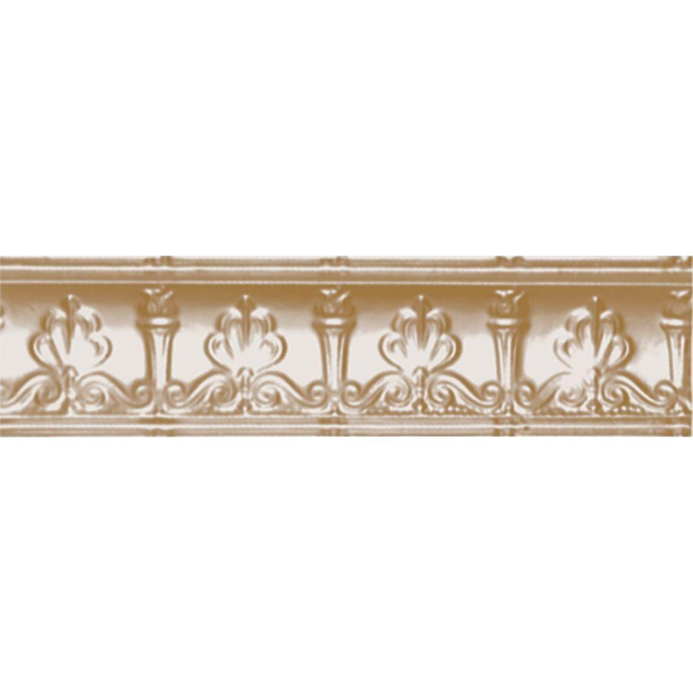 Shanko 4 in. x 4 ft. x 4 in. Satin Brass Nail-up/Direct Application Tin Ceiling Cornice (6-Pack)