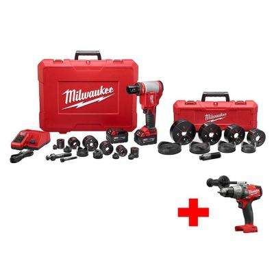 M18 18-Volt Lithium-Ion Cordless 1/2 in. - 4 in. Force Logic High Capacity Knockout Kit with Free M18 FUEL Hammer Drill