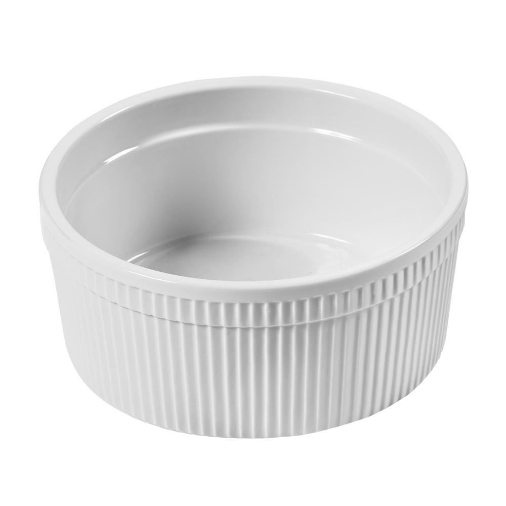 Porcelain 2 Qt. White Specialty Bakeware Souffle Dish