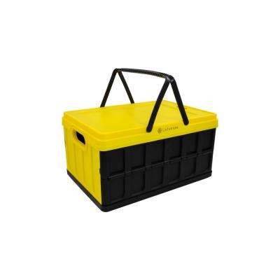 Foldable 33 Qt. Hardside Basket Storage Crate in Yellow/Black