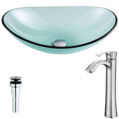 Major Series Deco-Glass Vessel Sink in Lustrous Green with Harmony Faucet in Brushed Nickel