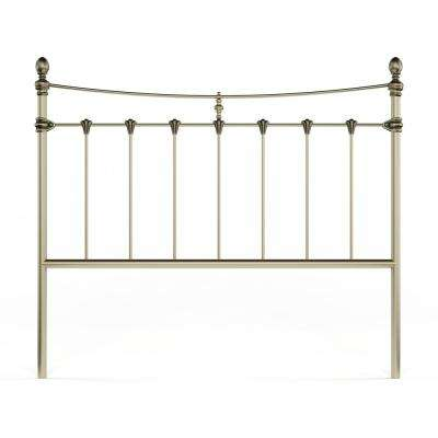 Leighton Queen-Size Metal Headboard with Rounded Posts and Scalloped Castings, Antique Brass Finish, Full