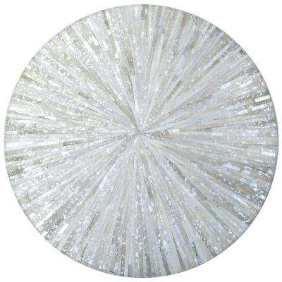 White Leather Hair-On 6 ft. x 6 ft. Round Area Rug