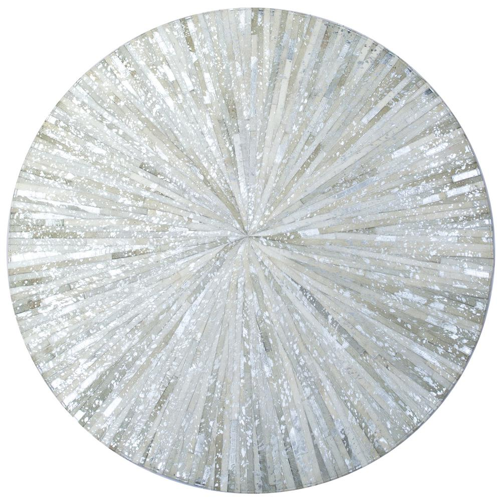 Matador White Leather Hair On 8 Ft X 8 Ft Round Area Rug