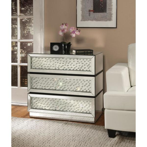 Venetian Worldwide Nysa Silver and Mirrored Console Table