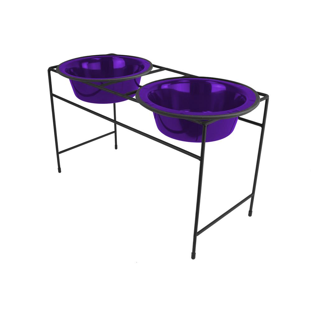 Platinum Pets 3.5 Cup Modern Double Diner Feeder with Dog...