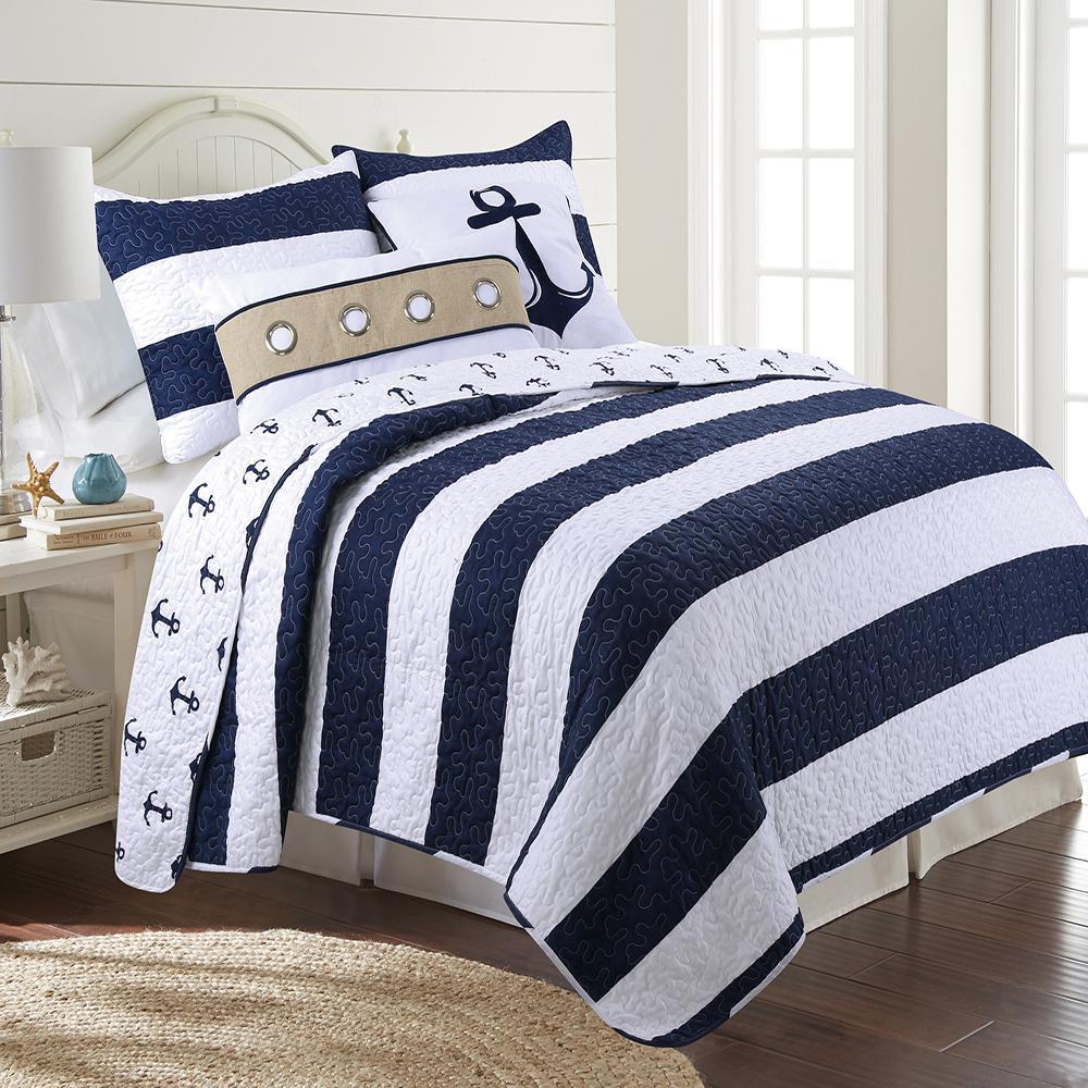 a2b1a14a Hallie Navy King Quilt Set 32889 - The Home Depot