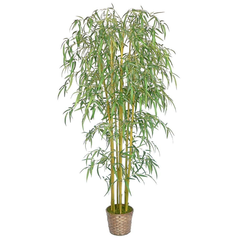 Laura Ashley 6 ft. Tall Realistic Silk Bamboo Tree with Wicker Basket Planter