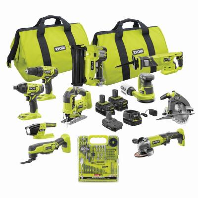 ONE+ 18V Cordless Combo Kit (10-Tool) with Multi-Material Drill and Drive Kit (60-Piece), (3) Batteries, Charger and Bag