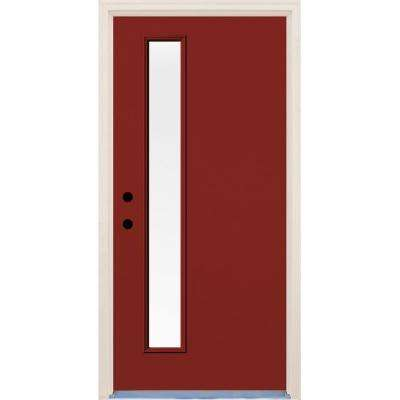 36 in. x 80 in. Cordovan Right-Hand 1 Lite Clear Glass Painted Fiberglass Prehung Front Door with Brickmould