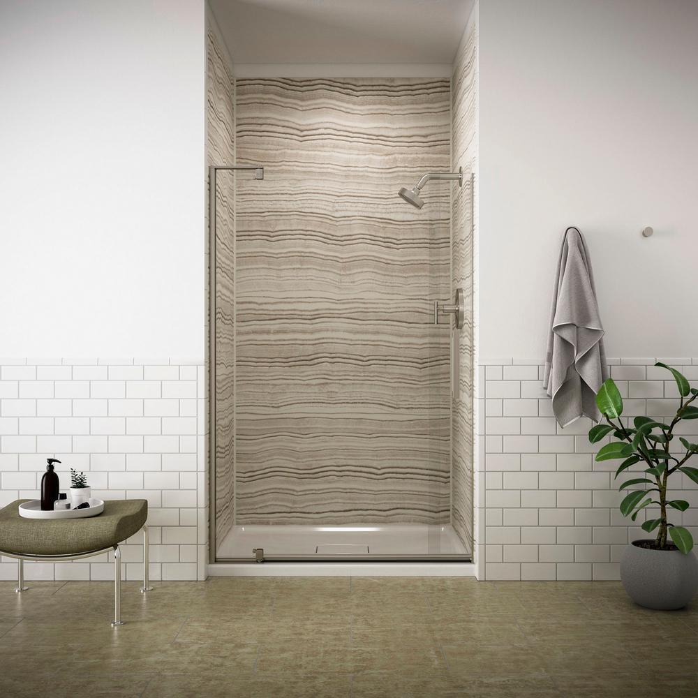Kohler Revel 48 In X 70 In Frameless Pivot Shower Door In Anodized