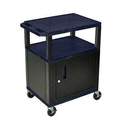 WT 34 ft. H 3-Shelf Cart with Black Cabinet in Navy Shelves