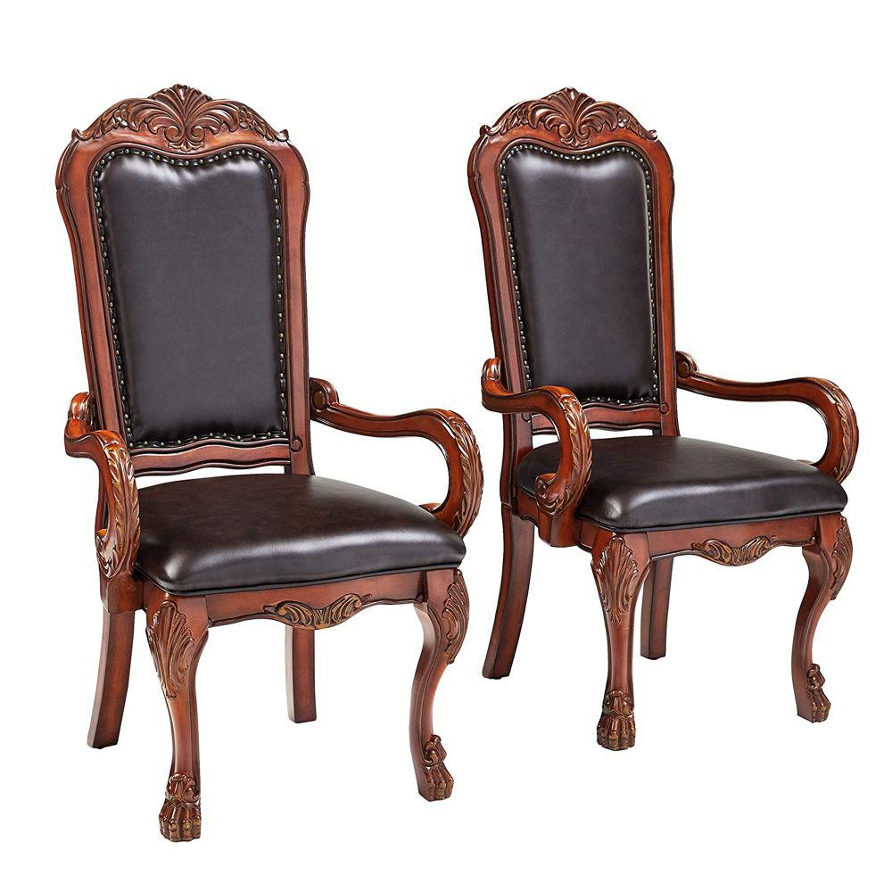 Cherry Oak Brown Wooden Arm Chair (Set of 2)