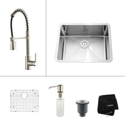 All-in-One Undermount Stainless Steel 23 in. Single Basin Kitchen Sink with Faucet and Accessories in Stainless Steel