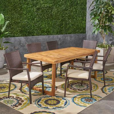 Stamford 6-Piece Wood and Wicker Outdoor Dining Set with Beige Cushions