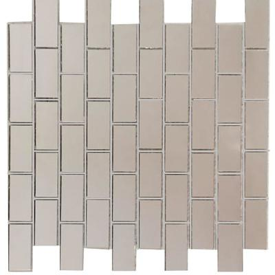 Reflections Silver Deco Mosaic 1 in. x 2 in Glass Mirror Wall Tile (14 sq. ft./box)