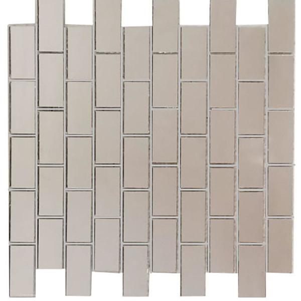 ABOLOS Mosaic 1 in. x 2 in. Silver Gray Glass Mirror