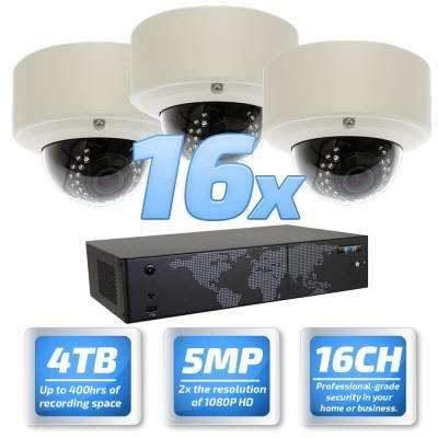 16-Channel with POE Switch H.265 5MP Camera 2.8 to 12 mm Varifocal Zoom Lens 100 ft. Night Vision Digital WDR 4TB HDD