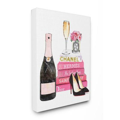 "16 in. x 20 in. ""Glam Pink Fashion Book Champagne Heels and Flowers"" by Amanda Greenwood Printed Canvas Wall Art"